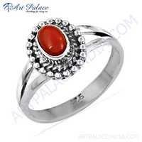 Truly Designer Carnelian Gemstone Silver Ring