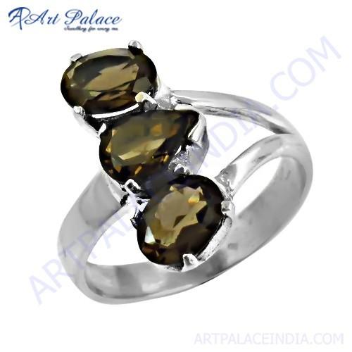 Hand Created Smokey Quartz Gemstone Silver Ring