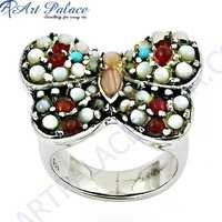 Rocking Butterfly Style Mother Of Pearl & Red Onyx Gemstone Silver Ring