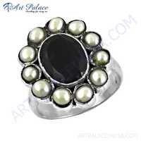 Feminine Unique Designer Black Onyx & Pearl Gemstone Silver Ring