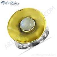 Unique Style Rainbow Moonstone Gemstone Silver Ring
