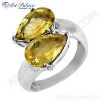 Ingenious Bypass Gemstone Silver Rings With Citrine