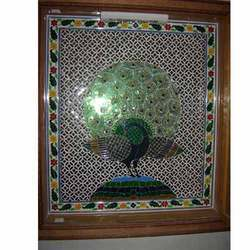 GLASS INLAY WORK ON WOOD CASTED PEACOCK
