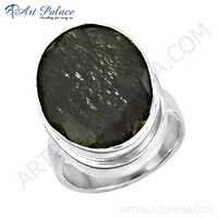Elegant Fancey Black Rutile Gemstone Silver Ring
