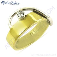 Beautiful Unique Style Cubic Zirconia Gemstone Silver Gold Plated Ring
