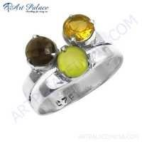 Bold & Beautiful Citrine & Green Chalcedony & Smokey Quartz Gemstone Silver Ring