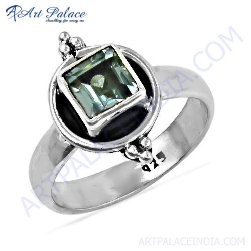 Rocking Style Blue Topaz Gemstone Silver Designer Ring