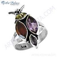 Popular Design Amethyst & Citrine & Garnet & Iolite Gemstone Silver Ring