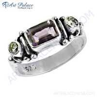 Lastest Luxury Amethyst & Cubic Zirconia Gemstone Silver Ring