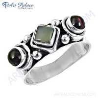 Fabulous Chalcedony & Garnet Gemstone Silver Rings