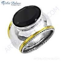 Antique Style Black Onyx Gemstone Silver Ring