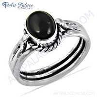 Indian Designer Black Onyx Gemstone Silver Ring
