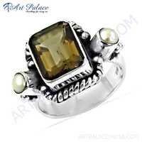 Truly Designer Pearl & Smokey Quartz Gemstone Silver Ring