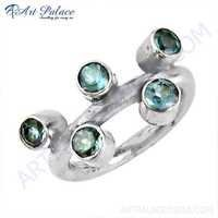 Fantastic Fashionable Blue Topaz Gemstone Silver Ring