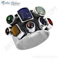 Sensational Newest Multi Color Gemstone Silver Ring