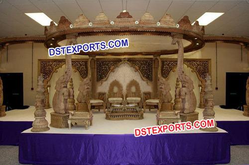 Indian Wedding Wooden Elephant Mandap