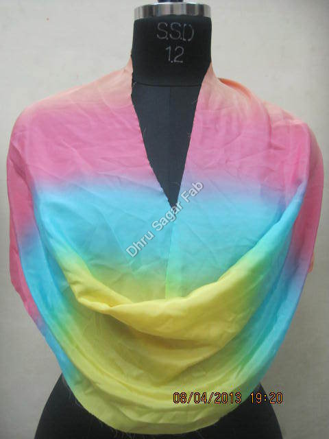 Heavy Bright Crape Shaded Ombre Print Fabric