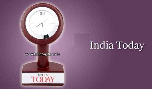 Clock with branding Wooden