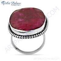 Gracious Fashion Dyed Ruby Gemstone Silver Ring