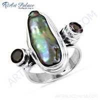 Fashion Accessories Amethyst & Black Pearl & Garnet Gemstone Silver Ring