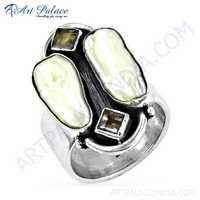 Hand Created Amethyst & Pearl & Smokey Quartz Gemstone Silver Ring,