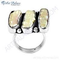 High Quality Pink Pearl Gemstone Silver Ring