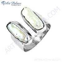 昂贵的珍珠宝石银圆环