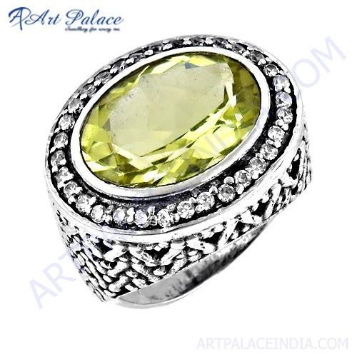 Latest Luxurious Cz & Lemon Quartz Gemstone Silver Designer Ring