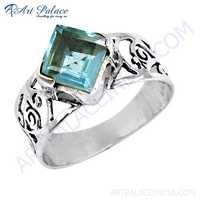 Rocking Style Blue Topaz Glass Gemstone Silver Fret Work Ring