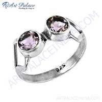 Inspired Dual Amethyst Gemstone Silver Ring