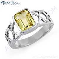 Indian Designer Lemon Quartz Gemstone Silver Ring