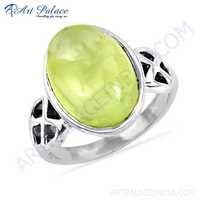 Picture Perfect Clear Prenite Gemstone Silver Ring