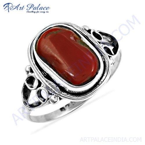Hot Dazzling Coral Gemstone Silver Ring