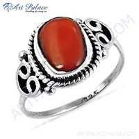 HOT Luxury Coral Gemstone Silver Designer Ring