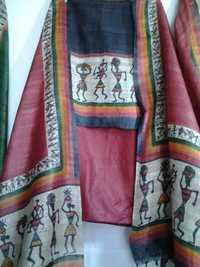 fine tussar silk suits with worli prints
