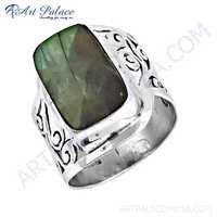 Fret Work Designer Labradorite Gemstone Silver Ring