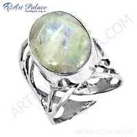 Premier Passion Rainbow Moonstone Gemstone Silver Ring