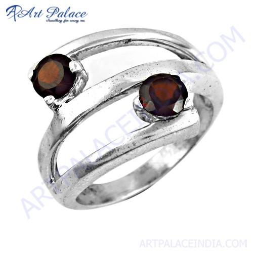 Fabulous Dual Garnet Gemstone Silver Ring