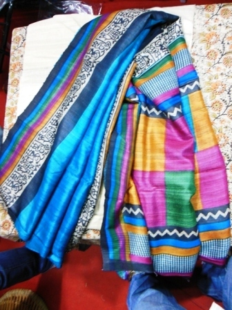 fine tussar silk sarees with worli prints