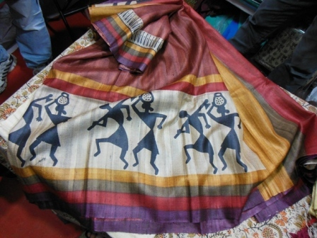 Gitcha  tussar silk sarees with worli prints