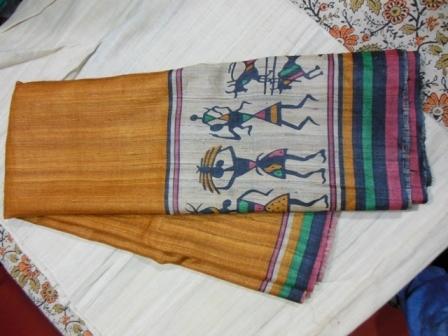 Gitcha  tussar silk sarees with worli prints