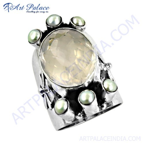 Unique Style Rose Quartz & White Pearl Gemstone Silver Ring