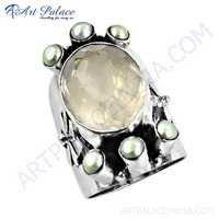 Unique Style Rose Quartz & White Pearl Gemstone Silver Ring