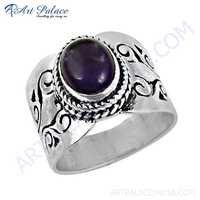 Gorgeous Amethyst Gemstone Silver Fret Work Designer Rings
