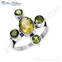 Fashion Accessories Citrine & Peridot Gemstone Silver Ring