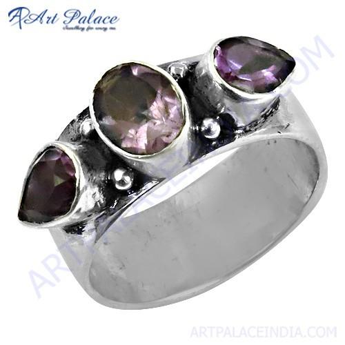 Elegant Fancy Amethyst Gemstone Silver Ring