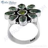 Attractive Flower Style Blue Topaz & Peridot Gemstone Silver Ring