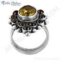 Precious Antique Citrine & Garnet Gemstone Silver Ring