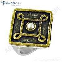 Antique Style Pearl Gemstone Silver Ring