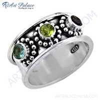 Glamours Amethyst & Blue Topaz Glass & Peridot Gemstone Silver Ring